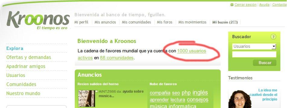 Kroonos.com cumple sus 1.000 usuarios