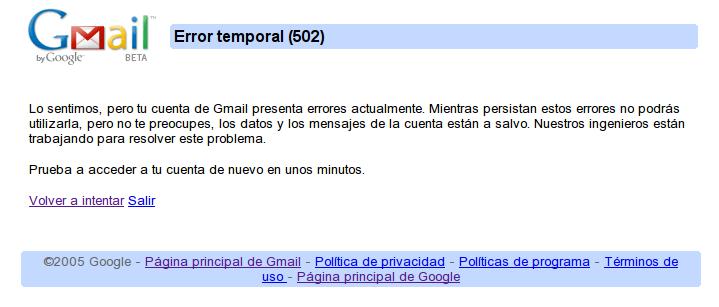 Error Google 2