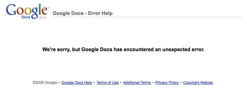 Google Docs Error inexperado