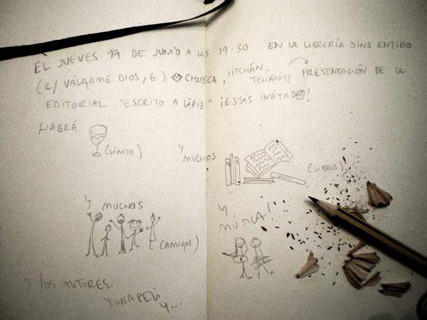 Escrito a lápiz se presenta