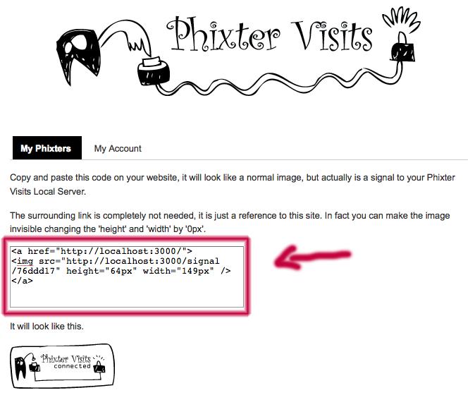 Phixter Visits Web Service Phixter's code