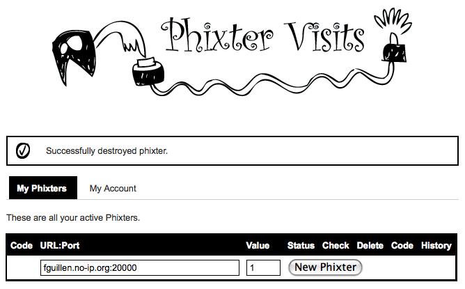 Phixter Visits Web Service create Phixter